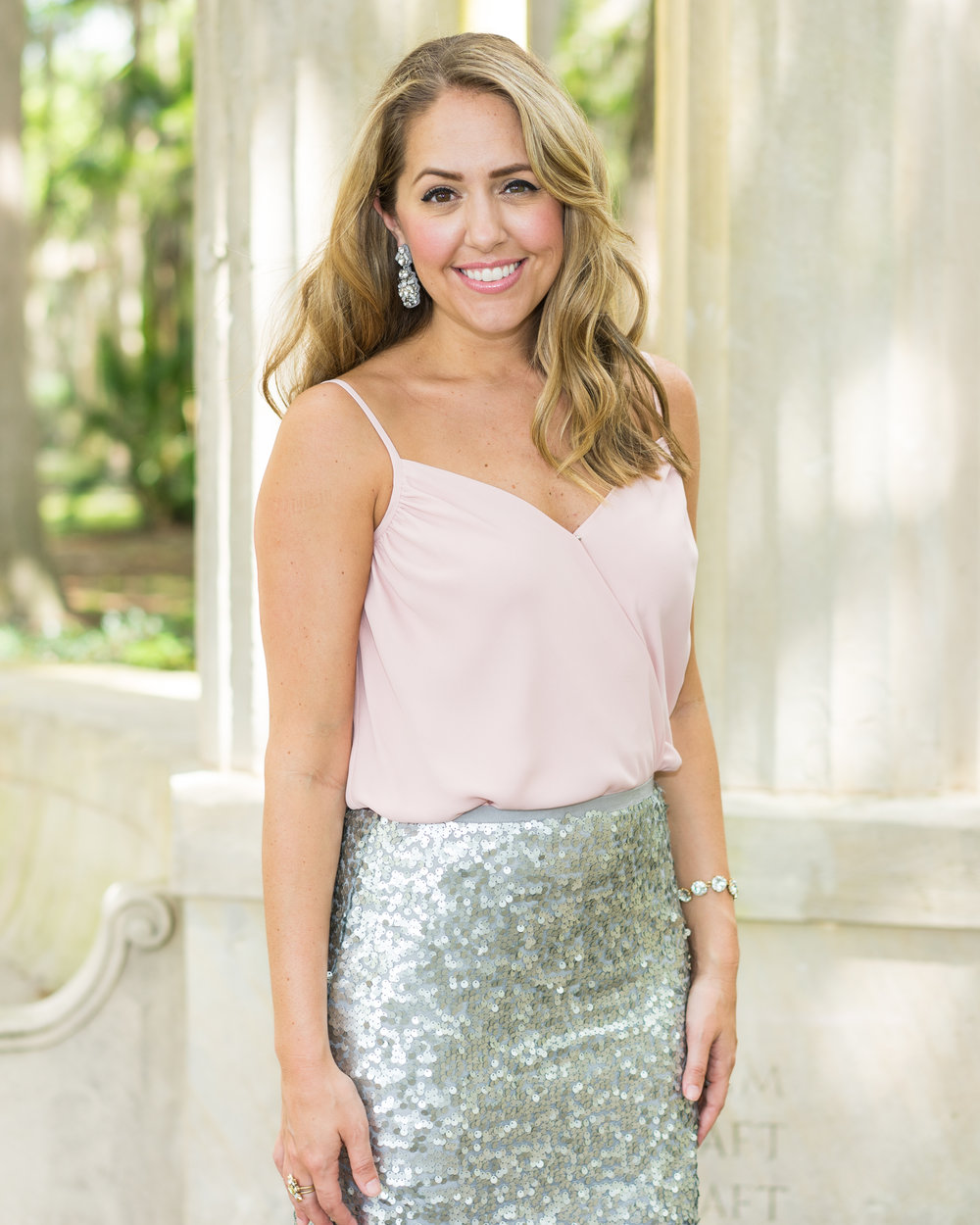 Blush bodysuit, silver sequin skirt