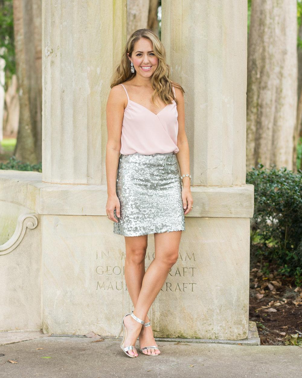 Blush bodysuit, silver sequin skirt