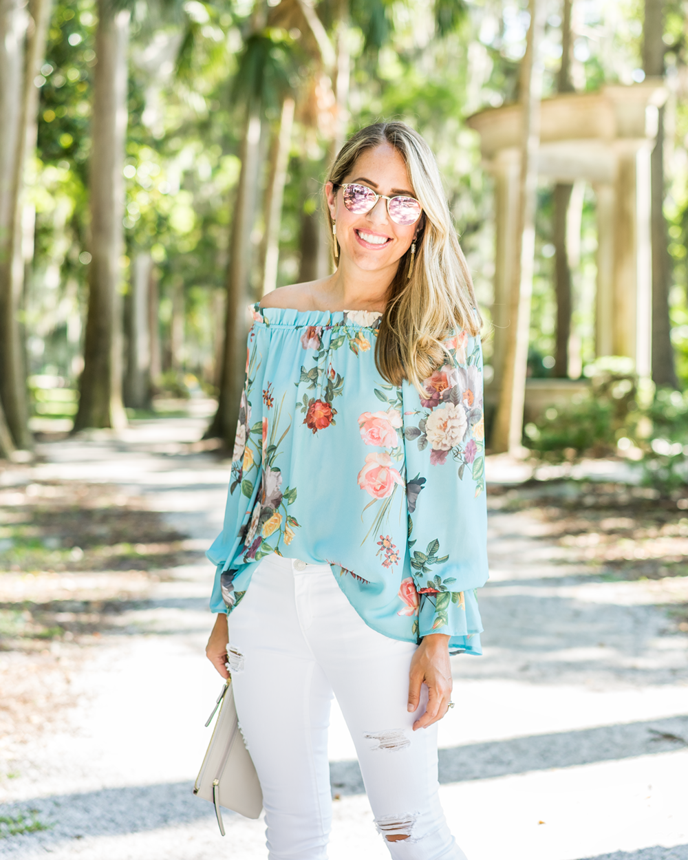 JCPenney mint off shoulder top, white jeans