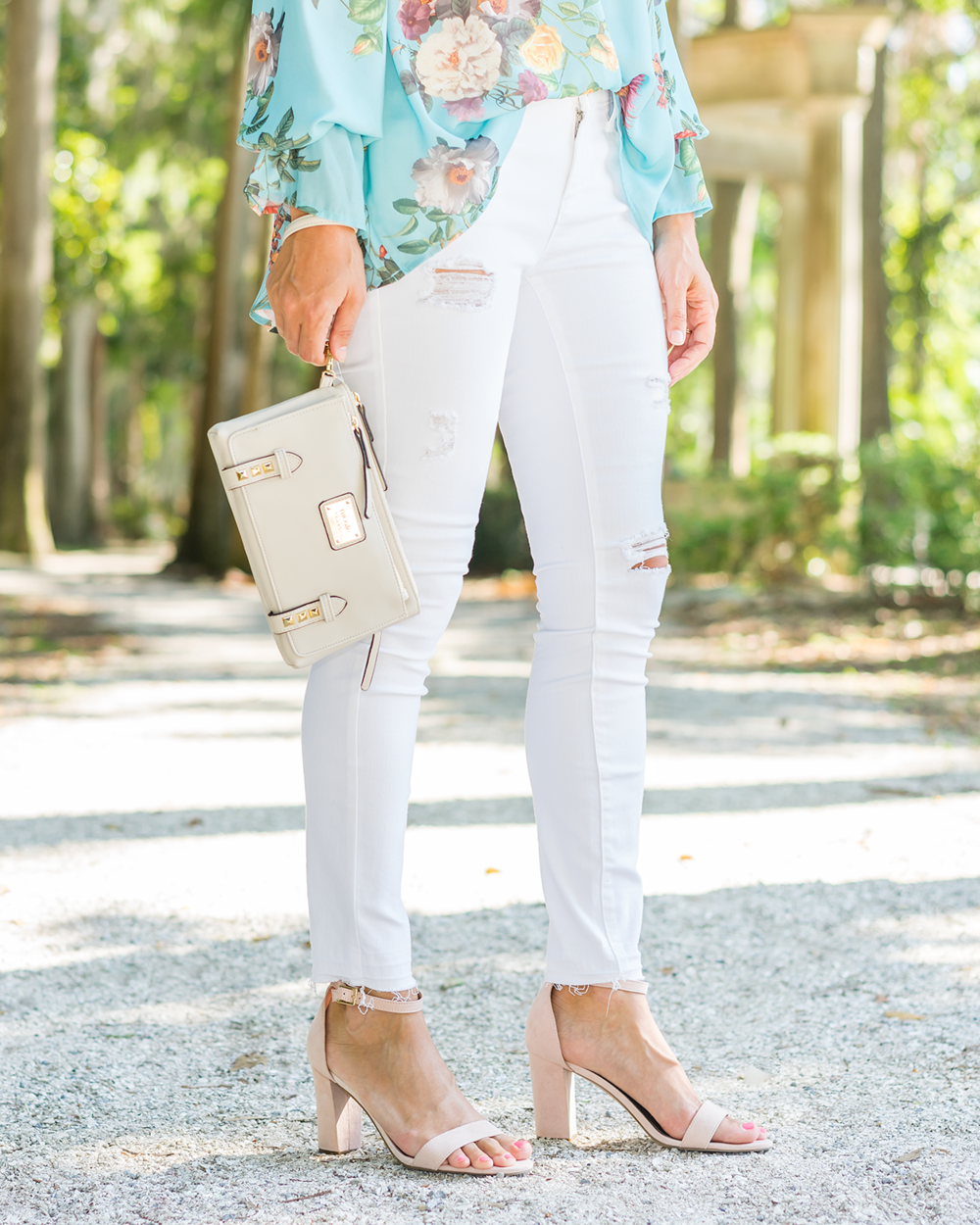 JCPenney mint off shoulder top, white jeans, blush shoes