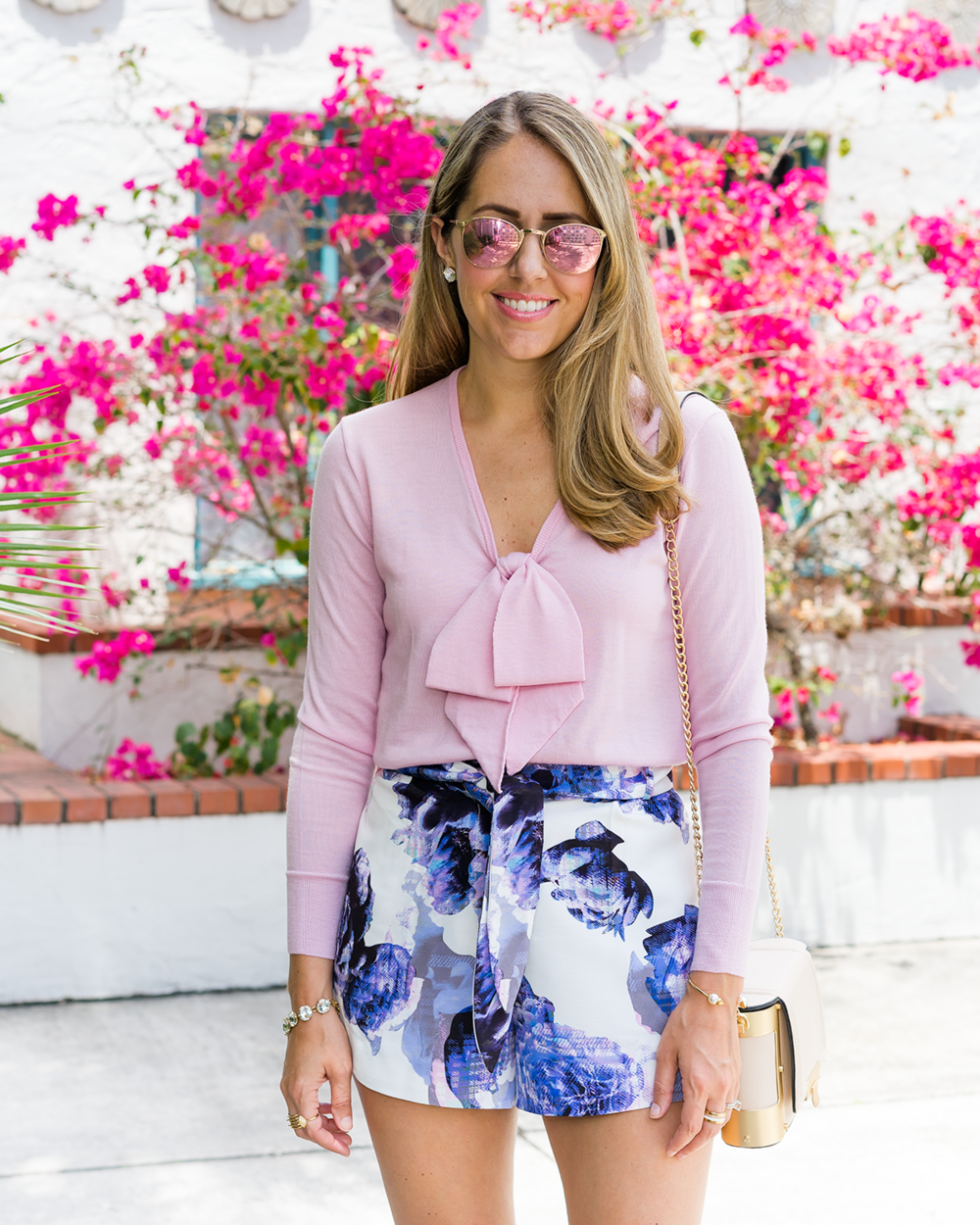 Blush bow sweater, floral tie front shorts