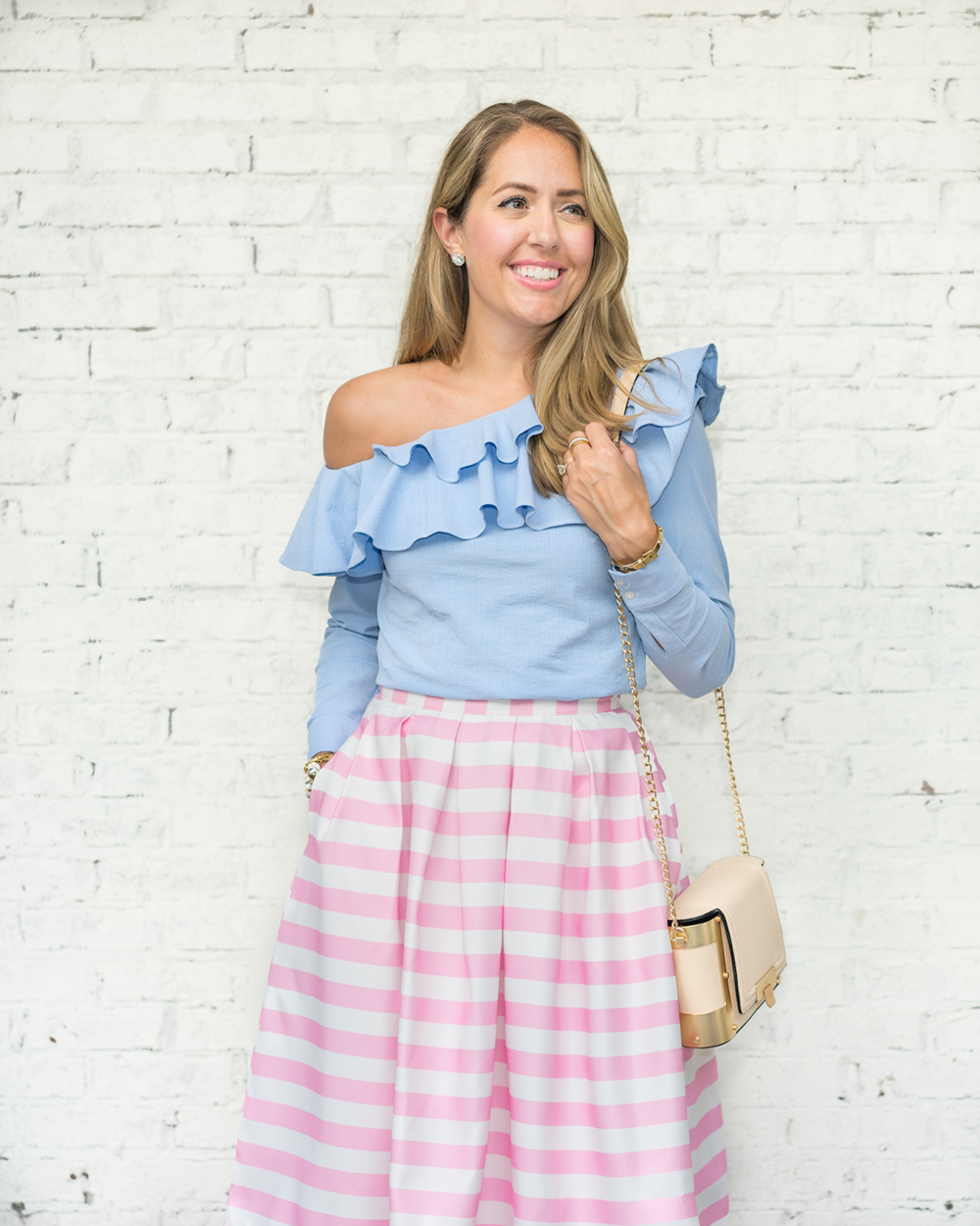 Blue ruffle top with pink stripe skirt