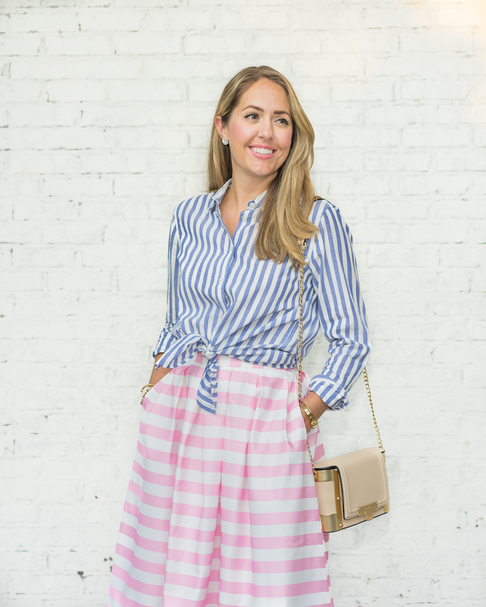 Blue stripe top with pink stripe skirt