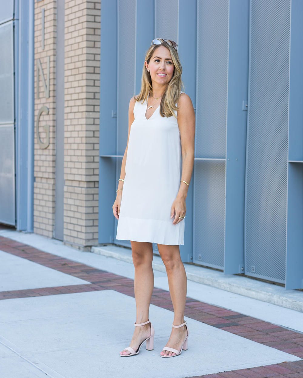 White silk dress from Everlane