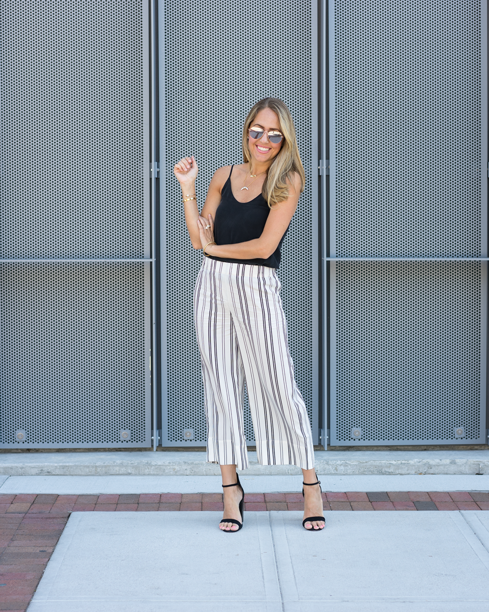 Black silk cami, stripe pants from Everlane