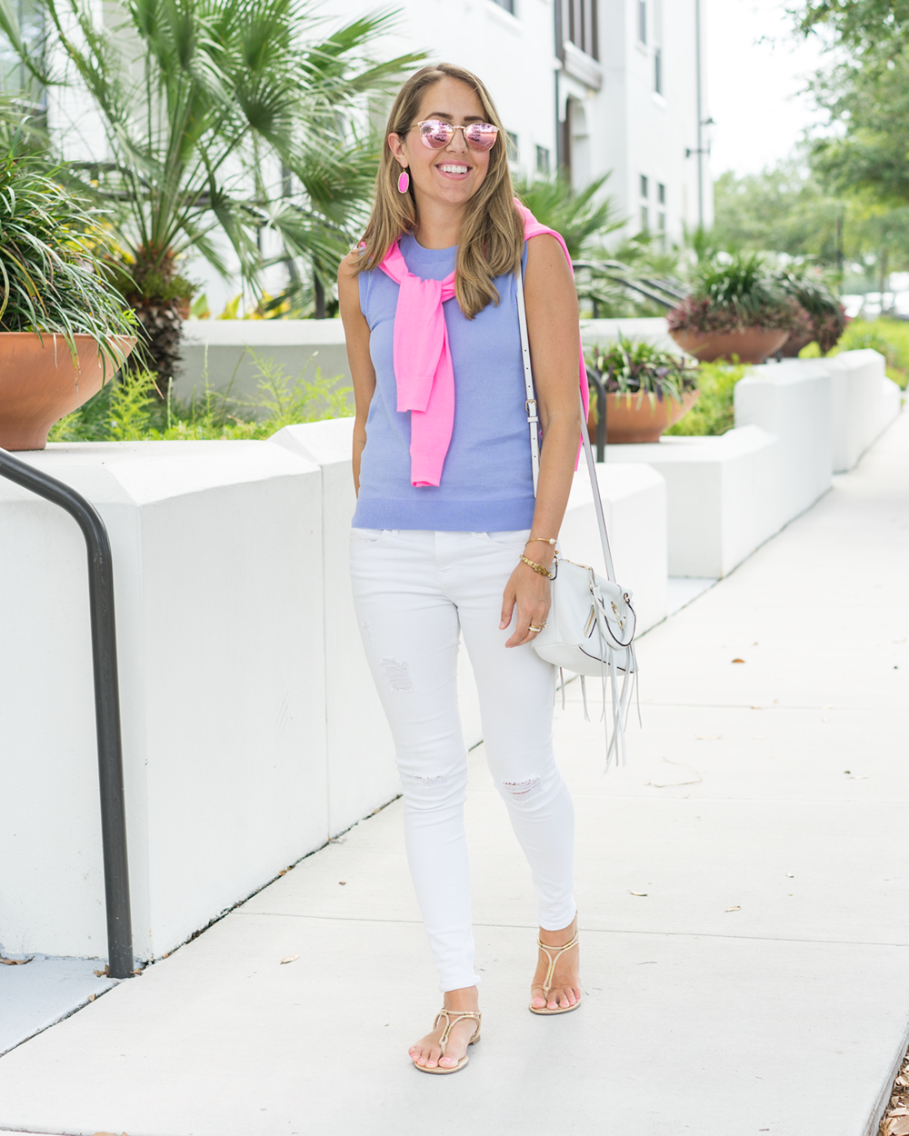 Neon pink cardigan, periwinkle shell, white jeans