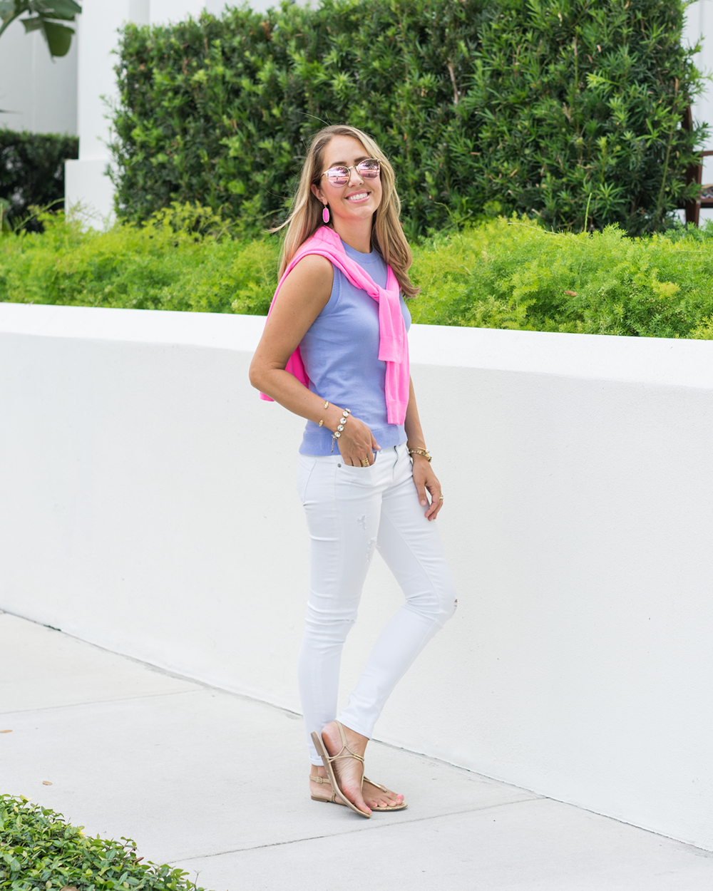 Neon pink cardigan, periwinkle shell