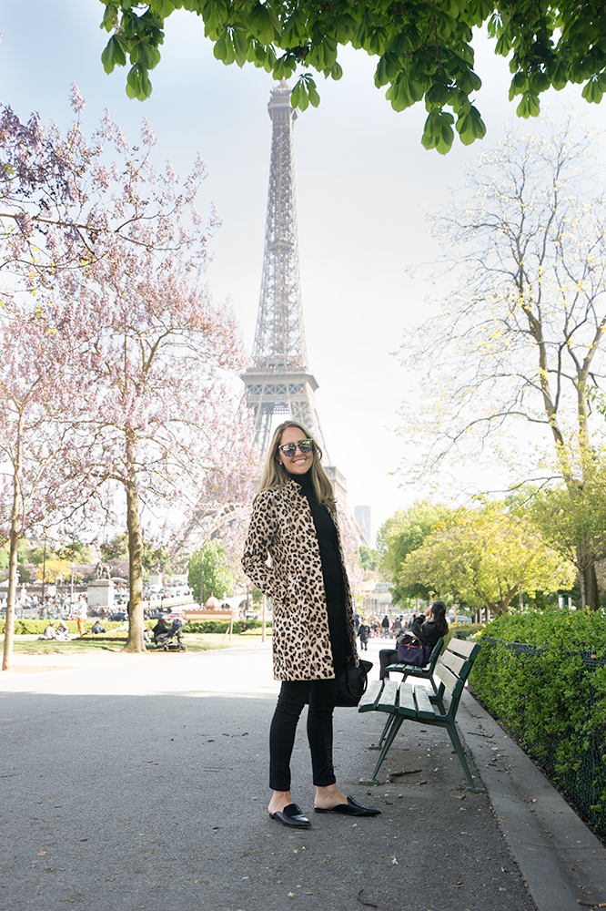 Eiffel Tower - leopard coat, black turtleneck