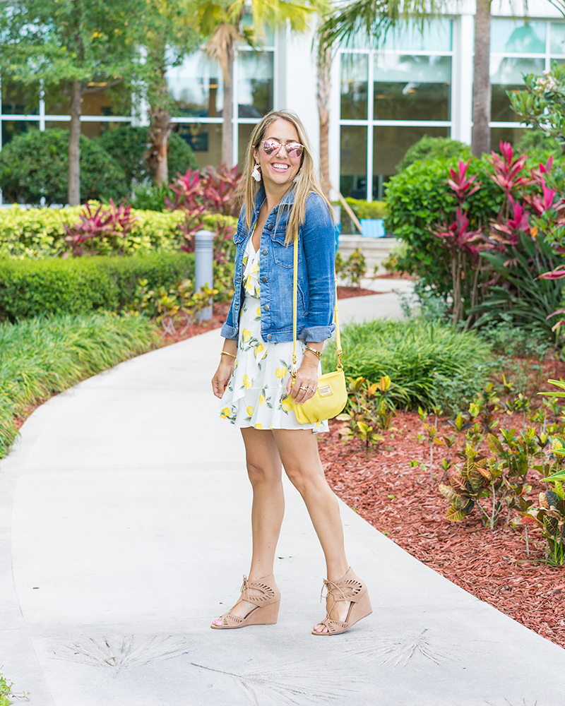 Lemon print dress, yellow purse, denim jacket