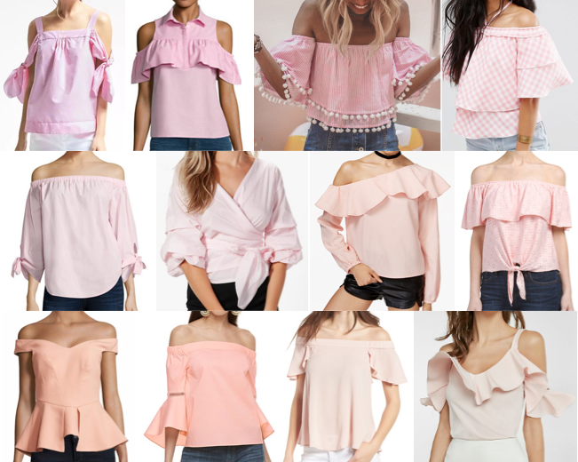 Blush pink ruffle off shoulder tops