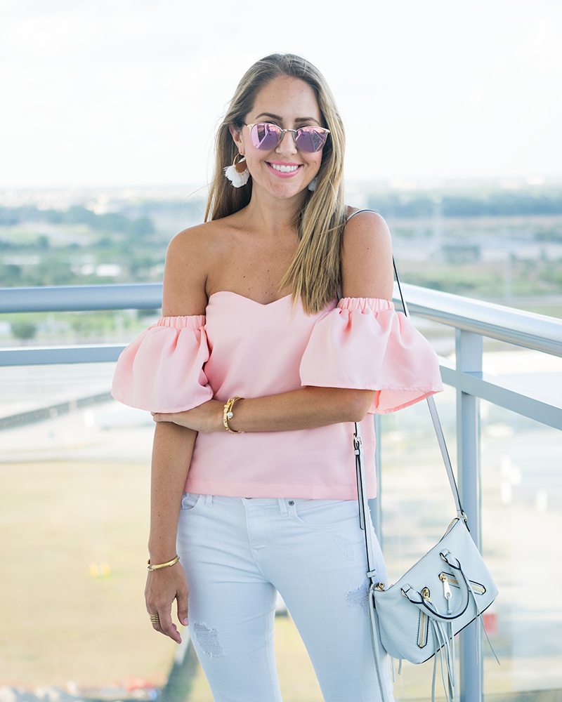 Blush pink off shoulder, white jeans