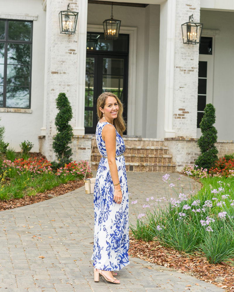 Eliza J blue print maxi dress