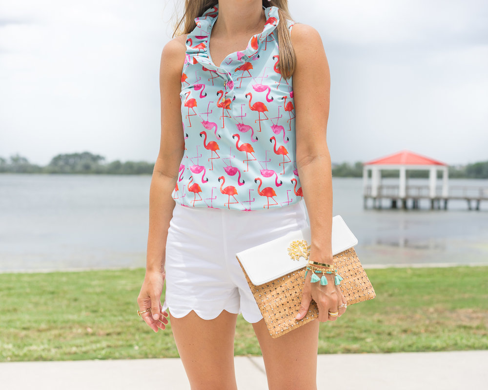 Flamingo print ruffle top, white scallop shorts