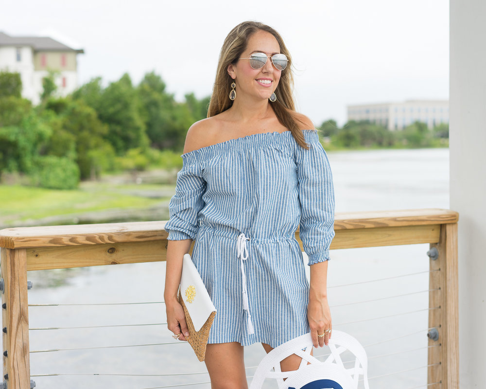Stripe off shoulder romper, cork clutch