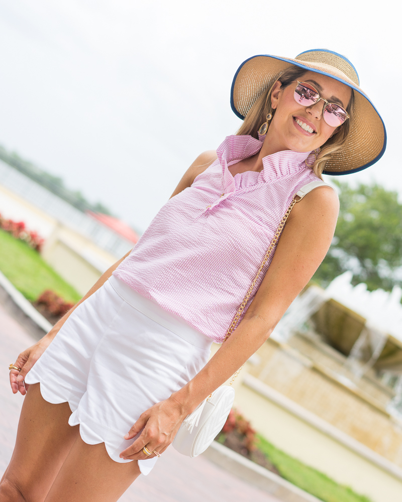 Bow hat, pink seersucker top, white scallop shorts