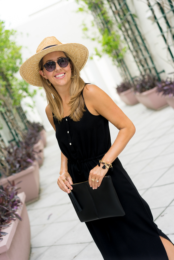 Black maxi, panama hat, black clutch