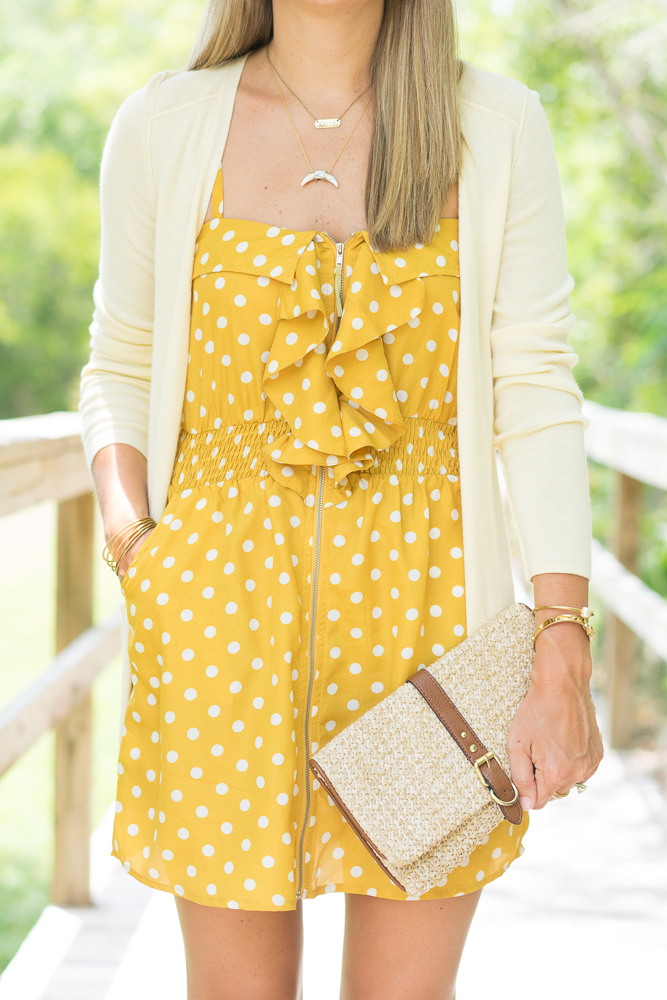 Straw purse, polka dot dress