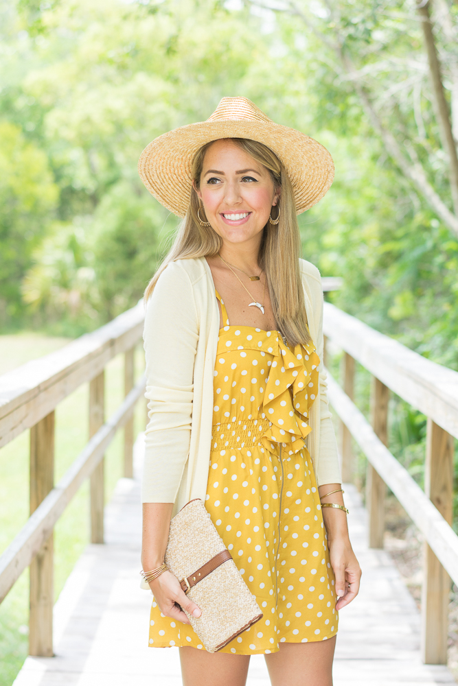 Straw hat and purse, polka dot dress
