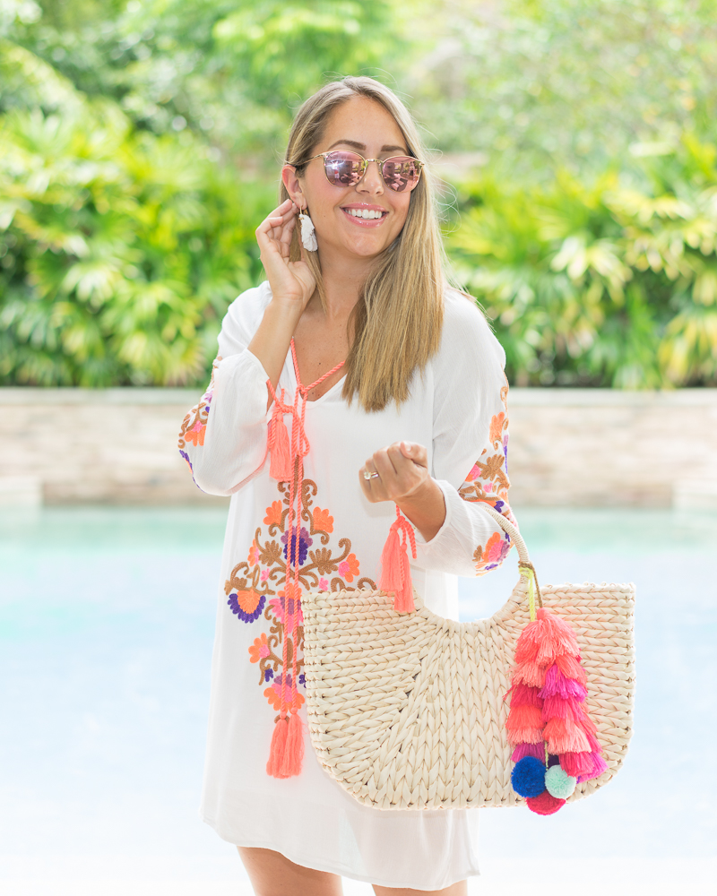 Embroidered cover up, straw tote with tassel charm