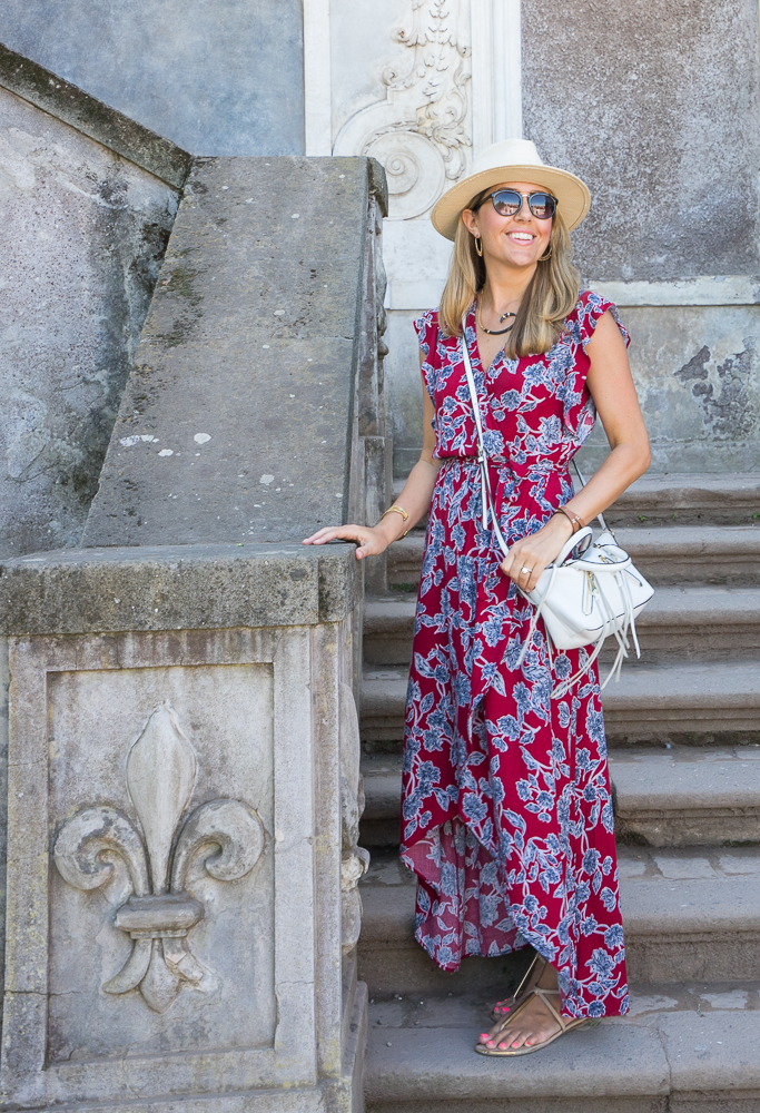 Red floral maxi in Rome