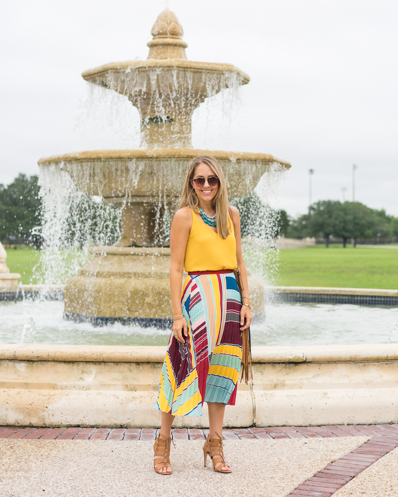 Yellow top, pleated maxi skirt, turquoise necklace
