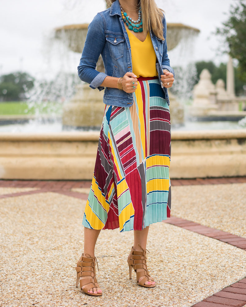 Yellow top, pleated maxi skirt, turquoise necklace, denim jacket