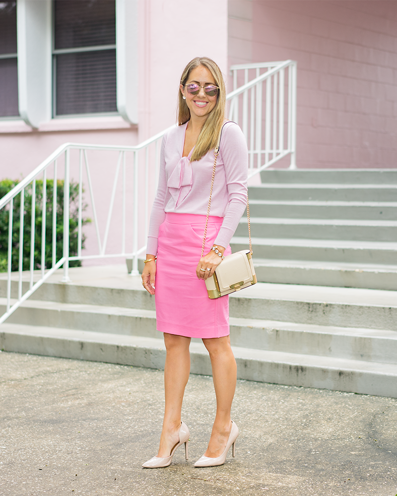 Pink bow sweater, pink pencil skirt