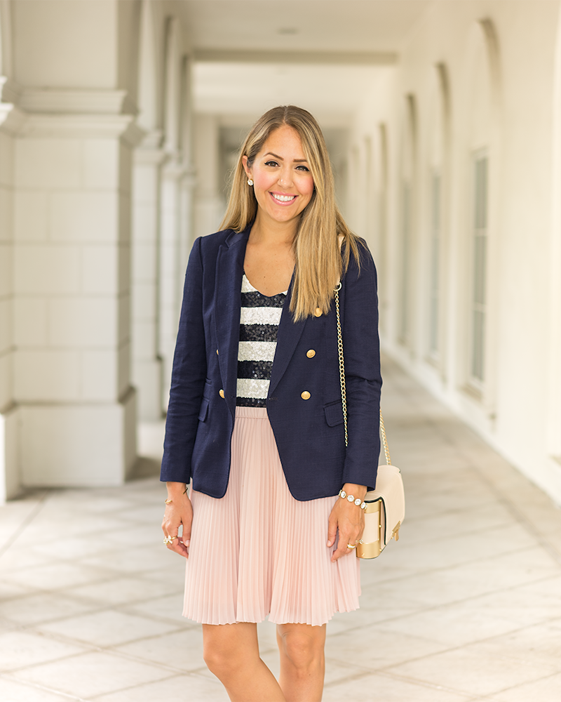 Navy blazer, stripes, pink pleated skirt