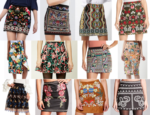 Embroidered skirts on a budget
