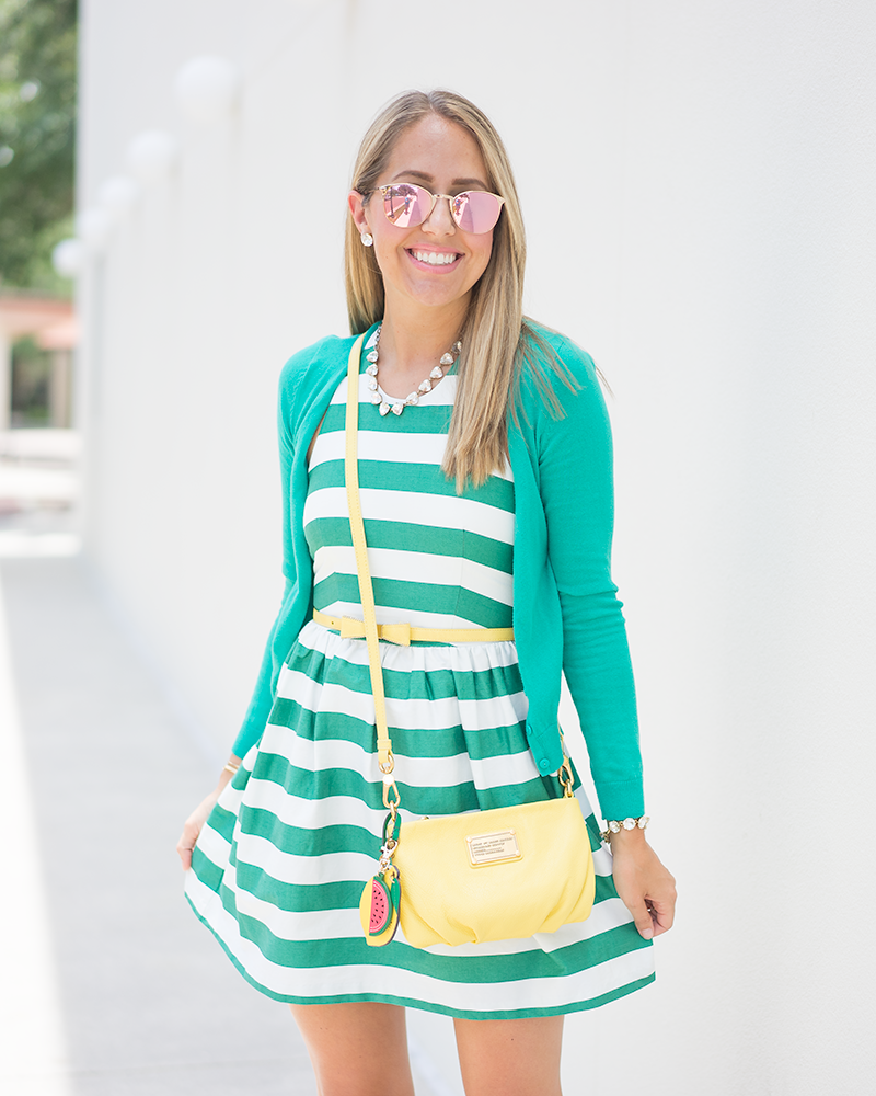 Green stripe dress, bow belt, yellow purse, watermelon and lemon charms