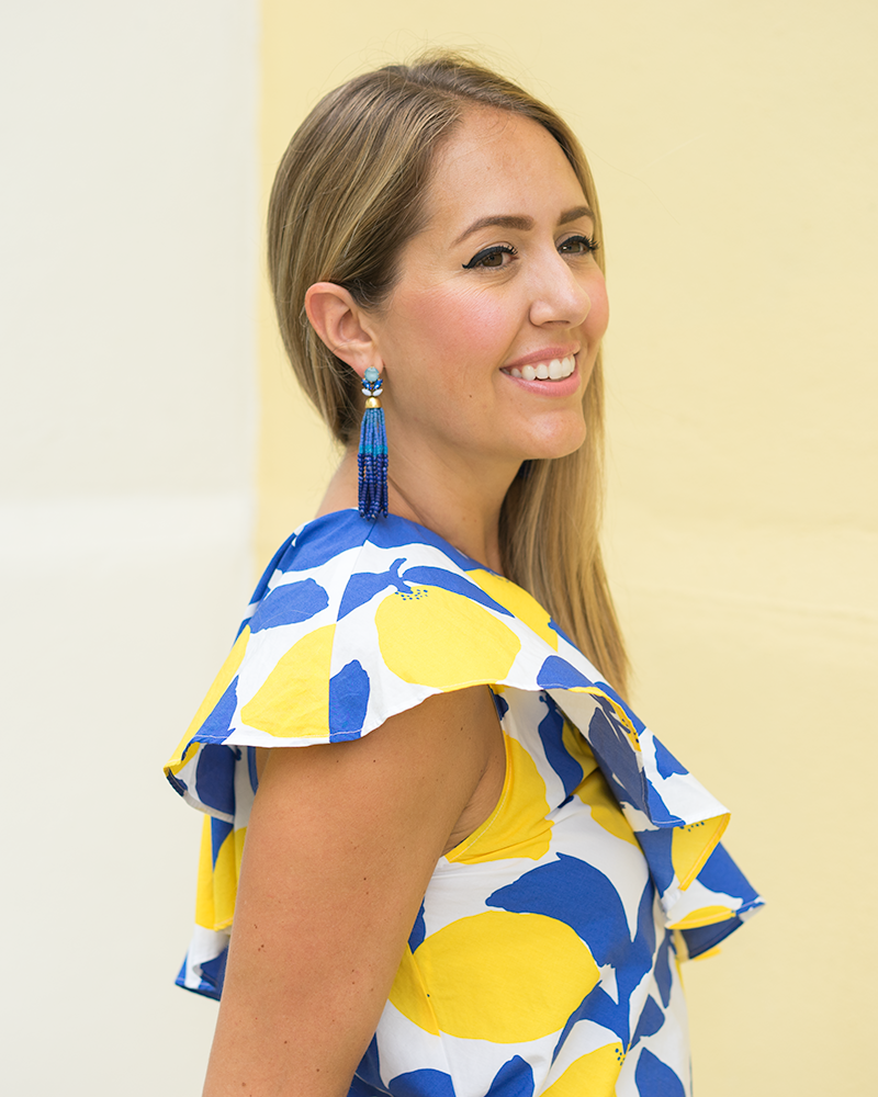 LOFT one shoulder lemon print top, blue tassel earrings