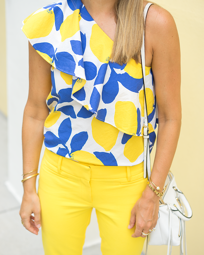 LOFT one shoulder lemon print top, yellow pants