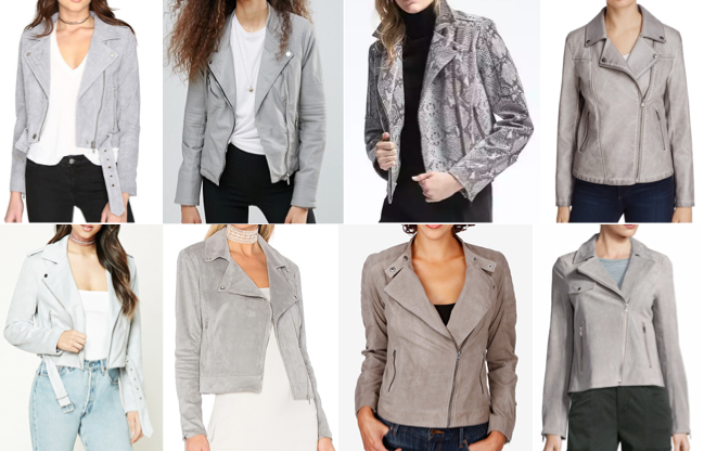 Gray moto jackets on a budget