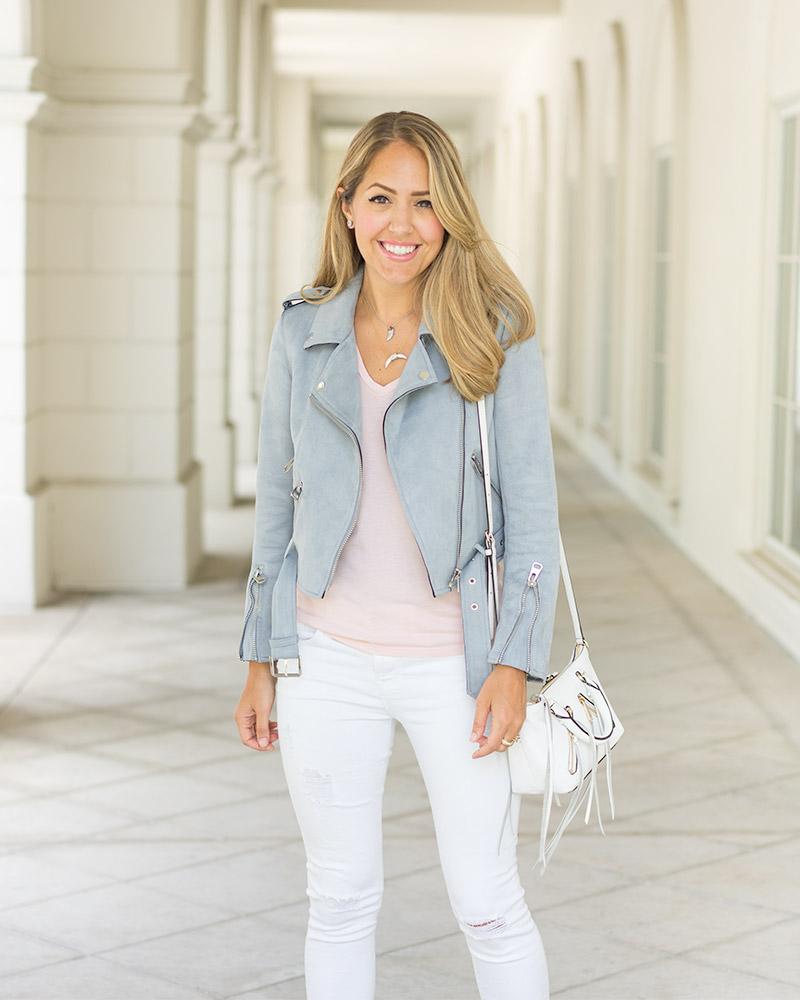 Gray moto jacket, rose Everlane tee, white jeans