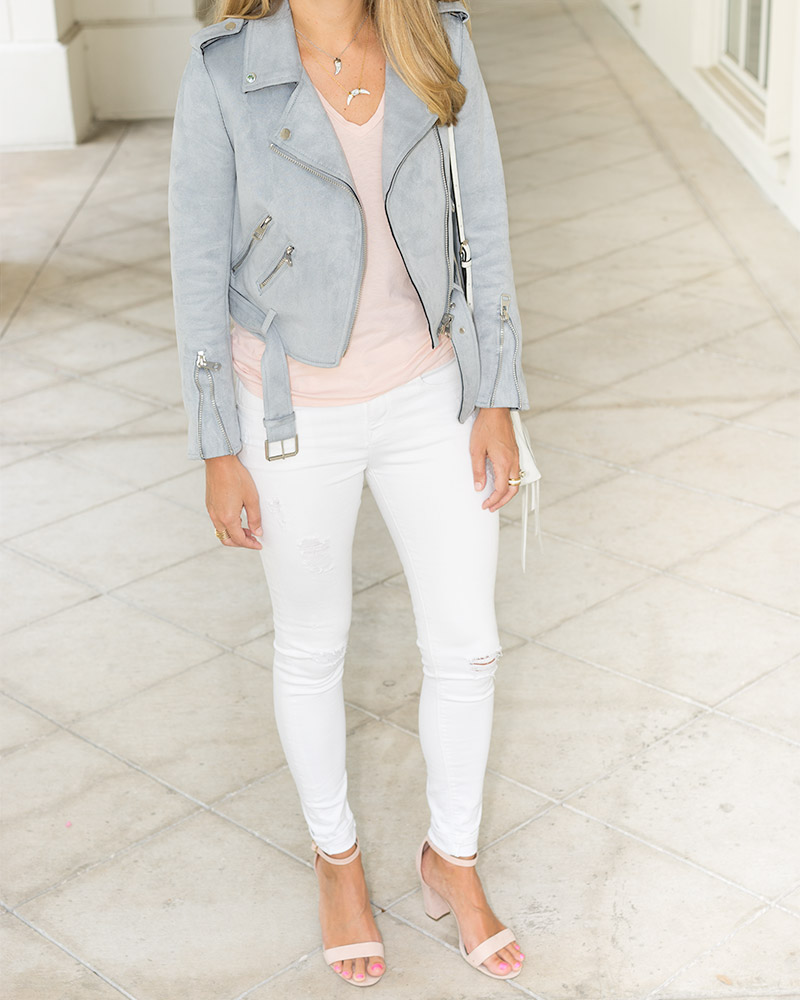 Gray moto jacket, rose Everlane tee, white jeans