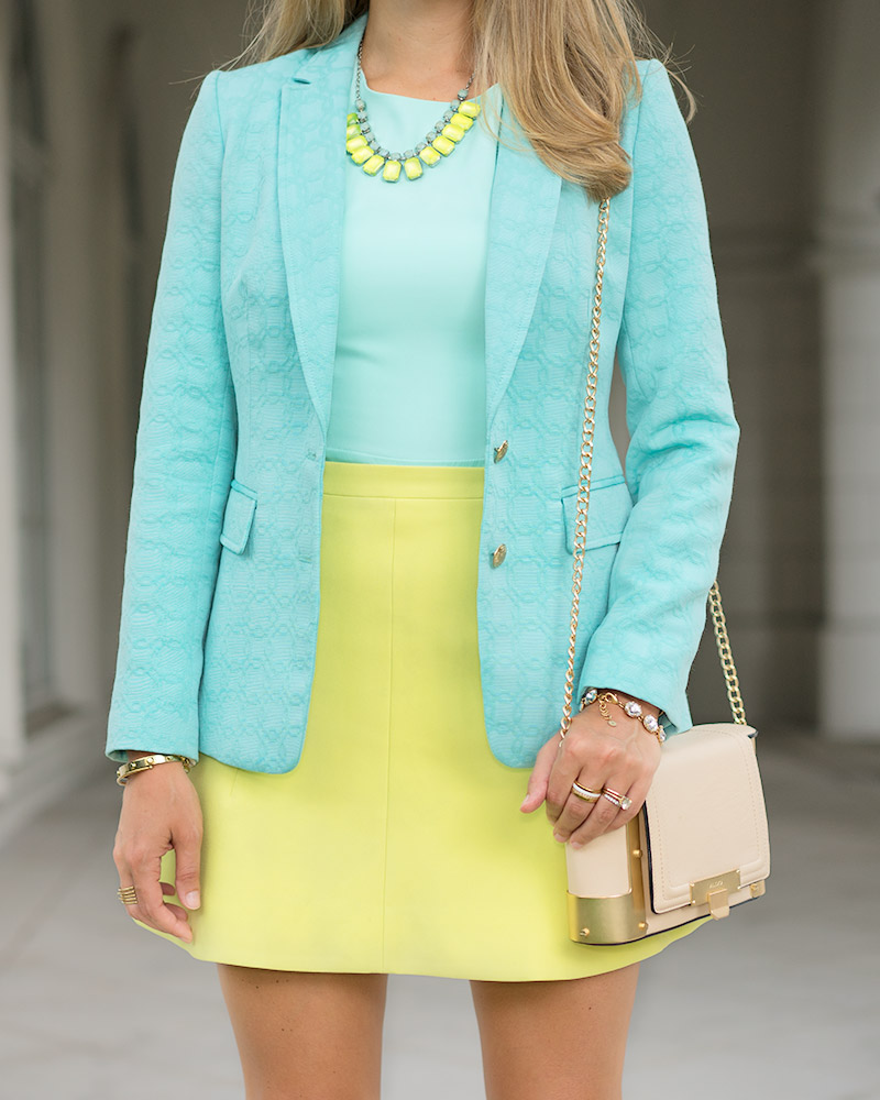 Turquoise blazer, mint and lime outfit