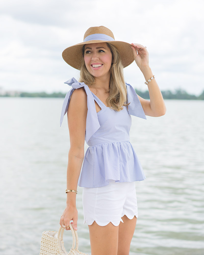 H&M blue bow top, seersucker hat, scallop white shorts