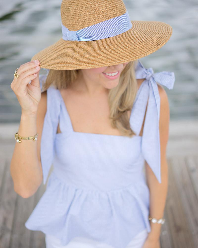 H&M blue bow top, seersucker hat