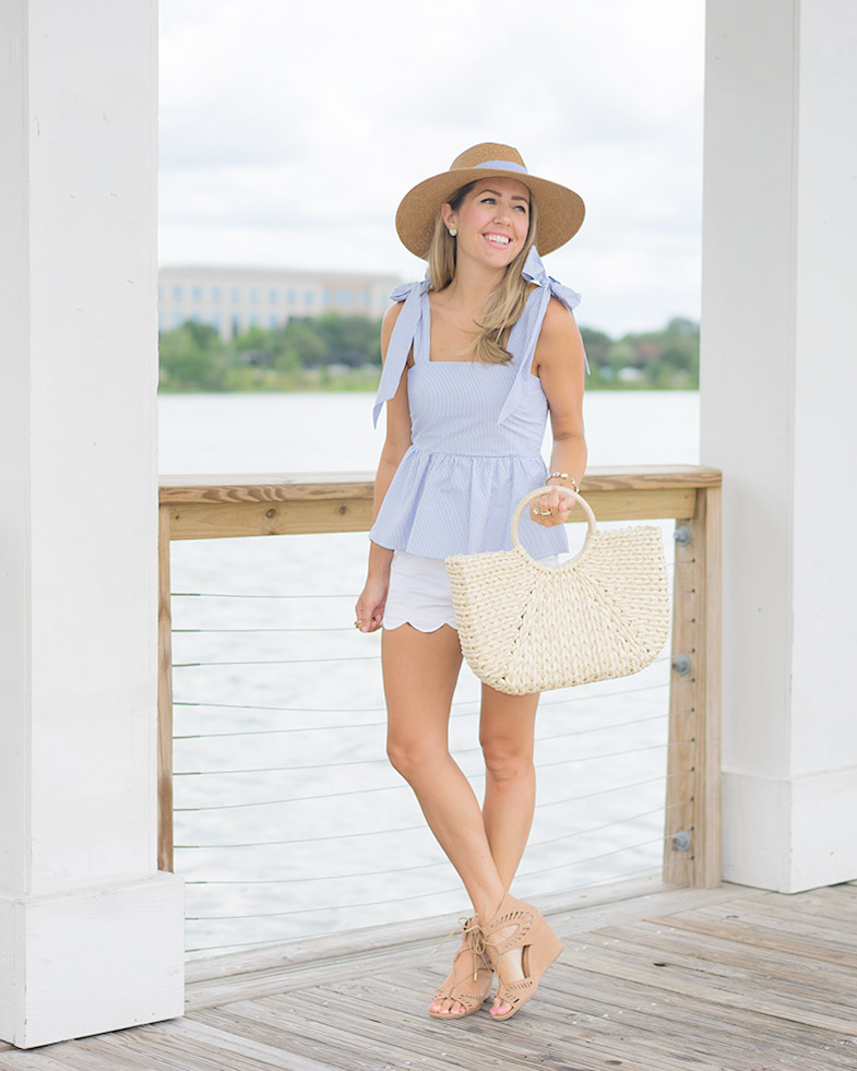 H&M blue bow top, seersucker hat, straw bag
