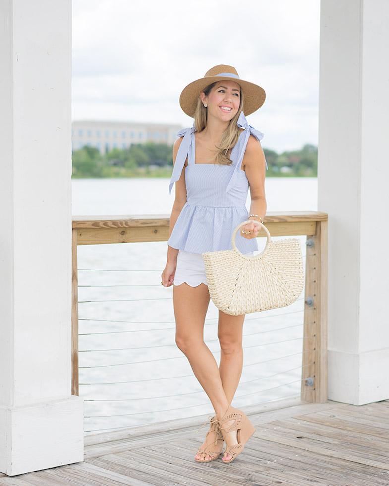 H&M blue bow top, seersucker hat, straw bag