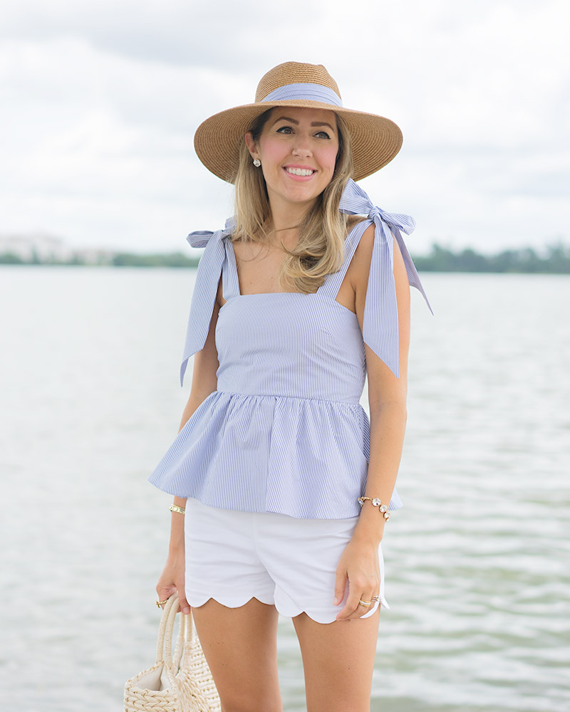 H&M blue bow top, seersucker hat, scallop white shorts