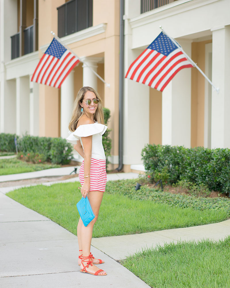 July 4th outfit, red stripe shorts, white off shoulder, blue purse