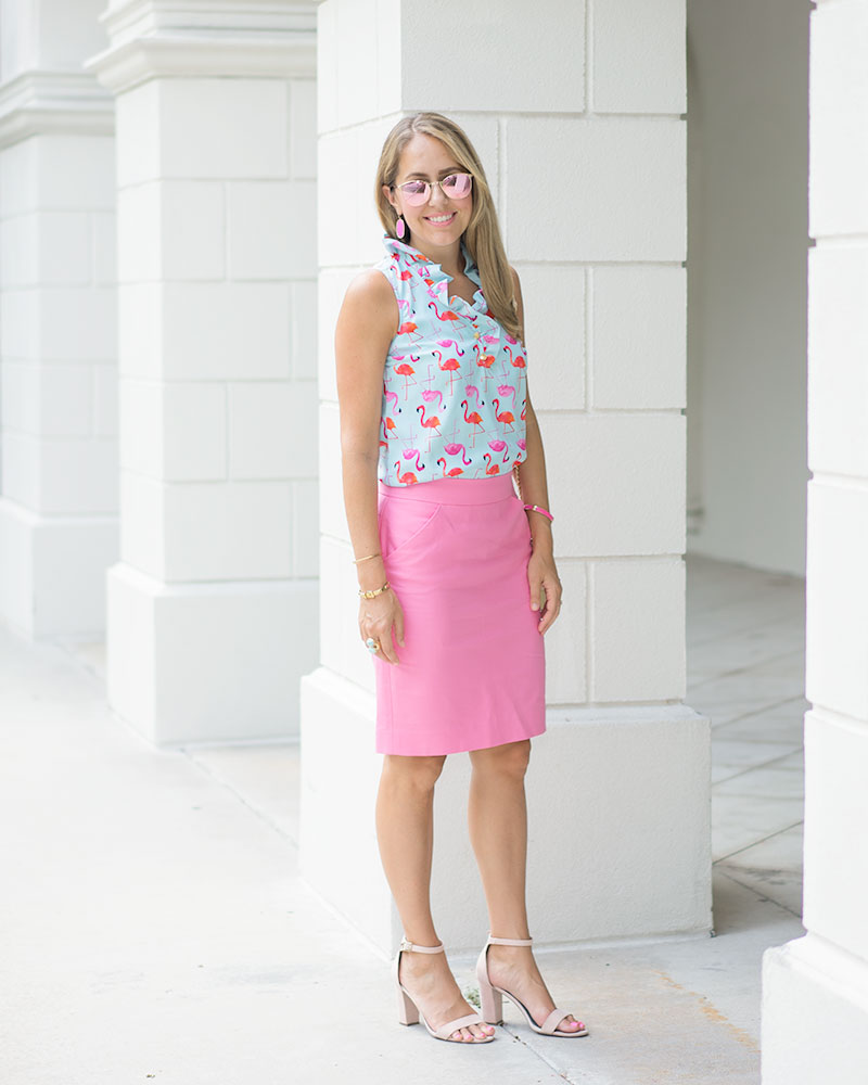Flamingo print top, pink pencil skirt