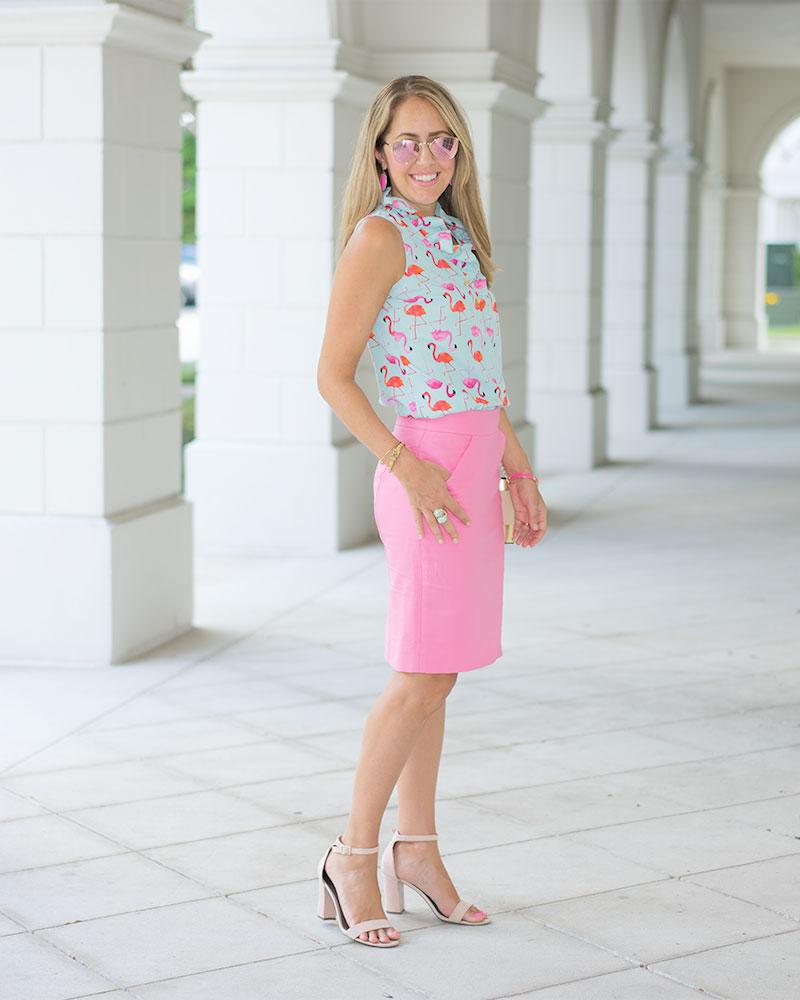 Flamingo print top, pink pencil skirt