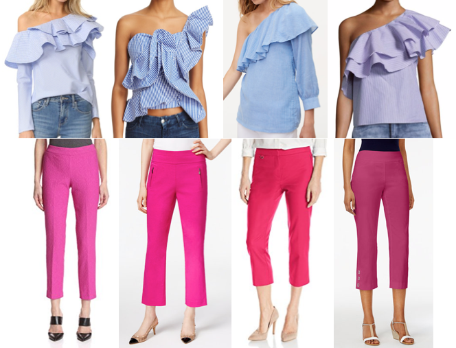 Blue ruffle tops and pink dress pants