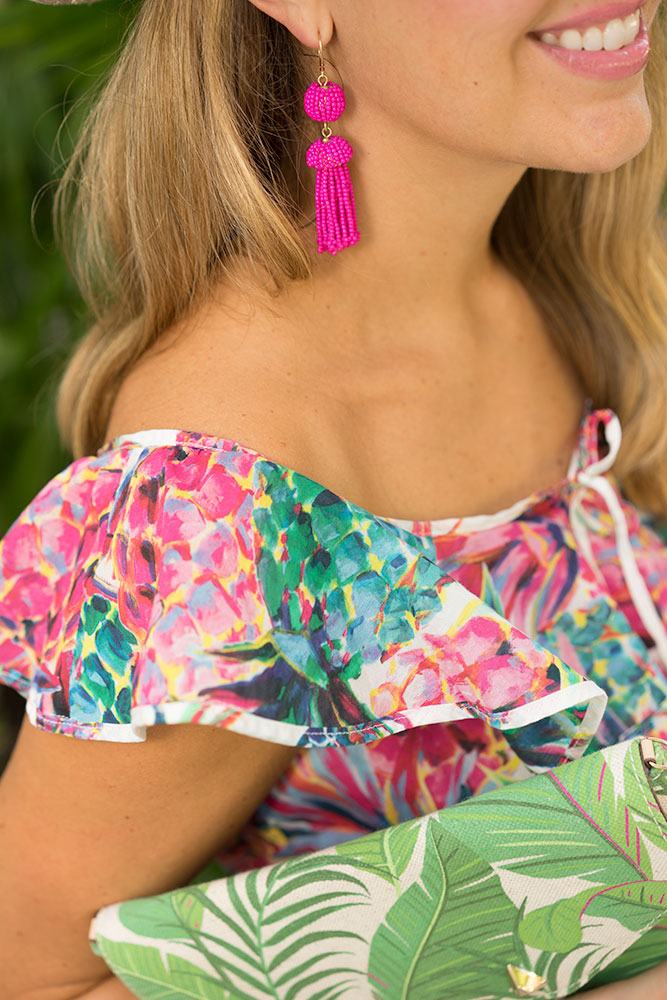 J.crew neon pineapple, pink tassel earrings