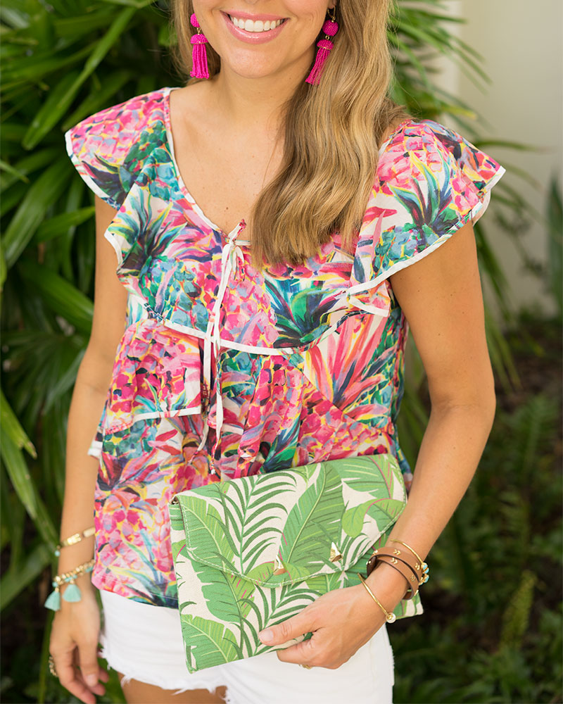 J.crew neon pineapple top, Stella & Dot palm print