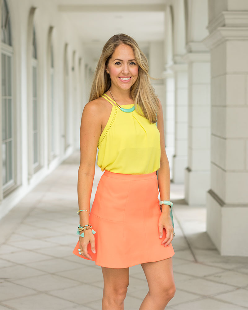 Yellow top, orange skirt, mint accessories