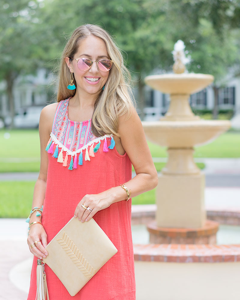 Red tassel dress