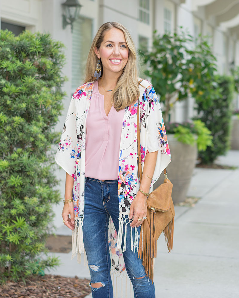 Floral kimono, skinny jeans